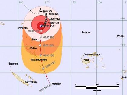 Tropical Cyclone Pam is intensifying. Photo credit: Fiji Meteorology.