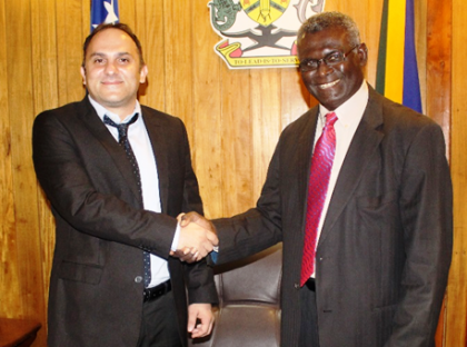 PM Sogavare and Nazer Group of Companies owner and CEO Mr Cebi. Photo credit: OPMC.