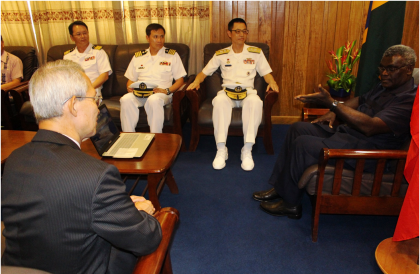PM Sogavare explains the Democratic Coalition for Change Government's policy direction to Ambassador Yu and Rear Admiral Lin. Photo credit: OPMC.