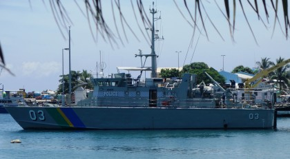 The RSIPF Patrol boat birthing at the Aola Base. A similar one will soon be presented to the Auki police. Photo credit: SIBC.