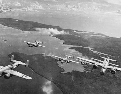 42 Bombardment Group B-25 Mitchells flying over Guadalcanal during the war. Photo credit: