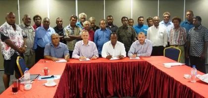 Board of Directors of GCIL and St Barbara at the signing. Photo credit: SIBC.