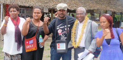 General-Secretary for the United Liberation Movement for West Papua Octovianus Mote with local supporters in Honiara. Photo credit: SIBC.