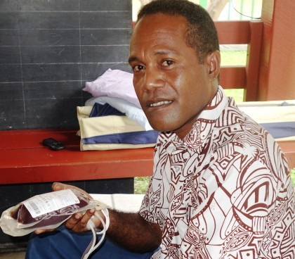 Life saver, SIBC's Rolland Ko'ofuli after a recent blood donation session with the SI Red Cross. Photo credit: SIBC.