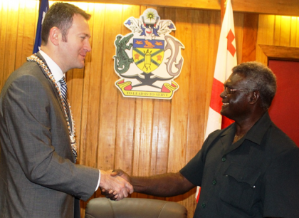 PM Sogavare farewells Ambassador Konstantinidi after their meeting in the Prime Minister's Office yesterday. Photo credit: OPMC.