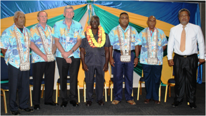 Prime Minister Sogavare flanked by MSG Police Commissioners and MSG Director General, Mr Peter Forau( far right). Photo credit: OPMC.