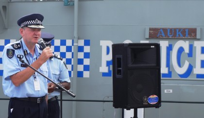 Police Commissioner Frank Prendergast speaking at the brief welcome ceremony today. Photo credit: SIBC.