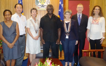 Prime Minister Manasseh Sogavare with the UN visiting team. Photo credit: SIBC.