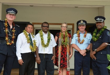 (Left to Right) Commissioner of Police, Frank Prendergast; Minister of Police, Hon. Peter Shanel Agovaka; Malaita Deputy Premier, Hon. Alick Maeaba; RAMSI Special Coordinator, Justine Braithwaite;  Commander RAMSI PPF, Greg Harrigan; and Malaita PPC, Alfred Uiga in front of the new Auki Police station. Photo credit: RAMSI Public Affairs.