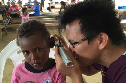 A child patient being examined by Dr. Robbie Change during the visit. Photo credit: Taiwanese Embassy in Honiara.