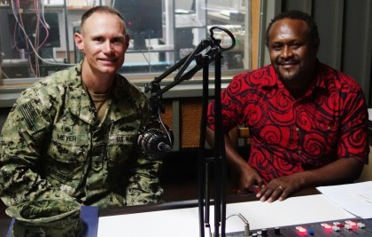 Captain James Meyer - Commander of one of the two US vessels engaged in the mission - USNS Millinocket (JHSV 3) and SIBC's Leni Dalavera. Photo credit: SIBC.