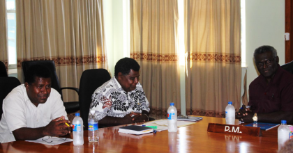 Malaita Premier Peter Ramohia, Guadalcanal Premier Batholomew Vavanga and Prime Minister Manasseh Sogavare. Photo credit: OPMC.