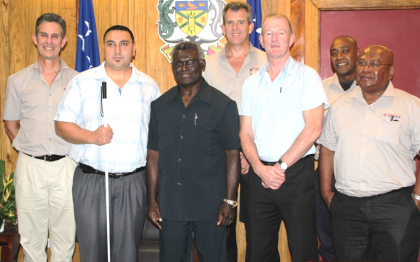 Prime Minister Sogavare (centre front) with the combined team of specialists from the Fred Hollows Foundation New Zealand and the Regional Eye Centre in Honiara. Photo credit: OPMC.