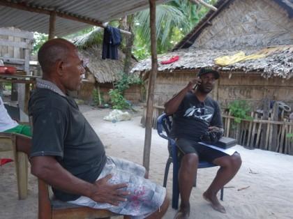 Zeri Leni interviewing an elder of Gupuna village, Santa Ana, Makira Ulawa Province