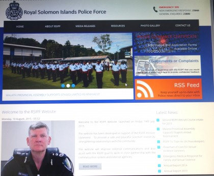 A snapshot of the new police website. Photo credit: SIBC.