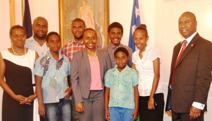 Ambassador Mose (right) with his family. Photo credit: GCU.