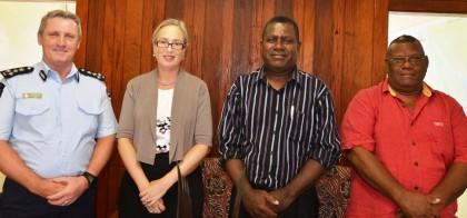 Commander PPF Greg Harrigan, RAMSI Special Coordinator Justine Braithwaite, Malaita Premier Peter Ramohia and Provincial Secretary Patrick Taloboe. Photo credit: RAMSI Public Affairs.