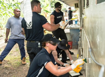 During the visit of the New Zealand Defence Force Offshore Patrol Vessel HMNZS WELLINGTON to Honiara, in the Solomon Islands, members of the ships' crew participate in the New Zealand Aid Programme by renovating the Rove Health Clinic. Photo credit: A/SGT Sam Shepherd.