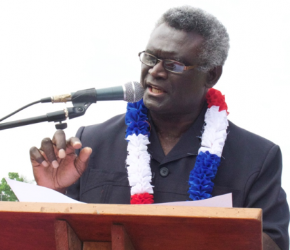 Prime Minister Manasseh Sogavare delivering his speech at the Malaita Second Appointed Day. Photo credit: OPMC.