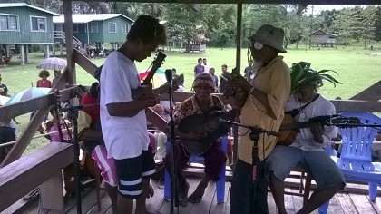A recent string band recording in Bita'ama, North Malaita. Photo credit: SIBC.