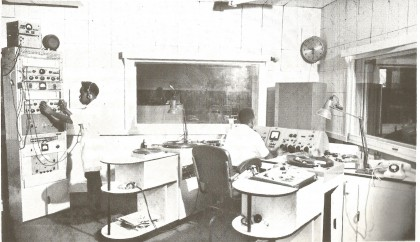 Luke Susuta and Paul Beni in the SIBS control studio. Credit: SI Government Information Service