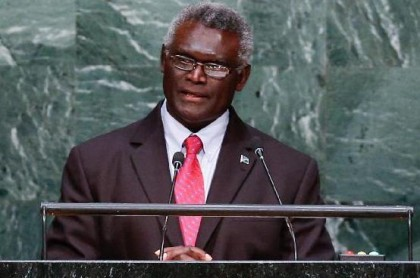 Prime Minister Manasseh Sogavare at the UN General Assembly 2016. Photo credit: Xinhuanet.com