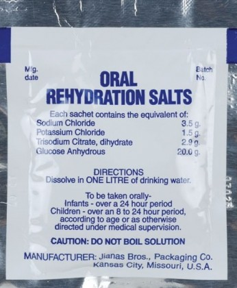 A packet of oral re-hydration salt cant treat diarrhoea. Photo credit: www.midwayusa.com