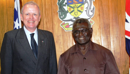PM Sogavare and the new British High Commissioner, His Excellency Trott. Photo credit: OPMC.