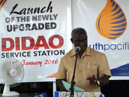 PM Sogavare delivers his address at the launch of the upgraded Didao Refueling Station. Photo credit: OPMC.