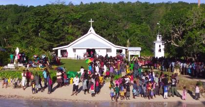 People gathering at Nila Parish. Photo credit: SIBC.