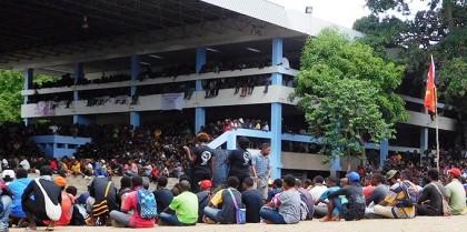 Students protests at UPNG. Photo credit: RNZ.