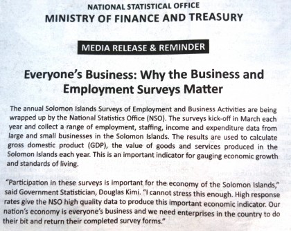 A media statement and reminder which appeared in today's issue of the Solomon Star on the survey issue. Photo credit: SIBC.