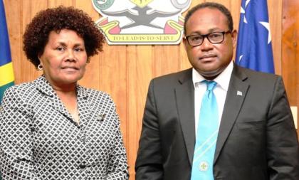 High Commissioner Joy Kere and Acting Prime Minister Manasseh Maelanga. Photo credit: GCU.