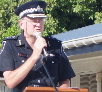 Police Commissioner Frank Prendergast speaking at the NRD and Armory opening. Photo credit: SIBC.