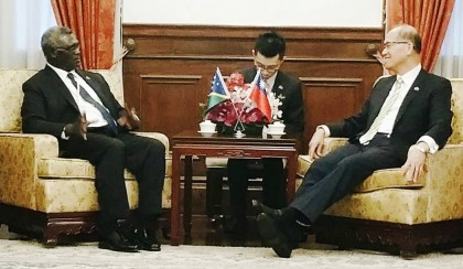 Prime Minister Manasseh Sogavare and the Taiwanese Foreign Minister, Dr Lee during their dialogue. Photo credit: PM Press Secretariat.