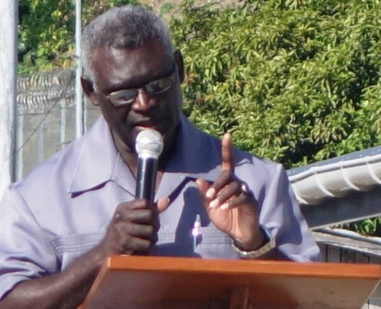 Prime Minister Manasseh Sogavare making his speech at the National Healing and Apology program. Photo credit: SIBC.