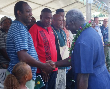 Prime Minister Manasseh Sogavare shaking hands with parties involving in the National Healing and Apology program. Photo credit: SIBC.