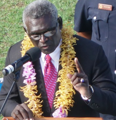 Prime Minister Manasseh Sogavare speaking at the 38th Independence Anniversary. Photo credit: SIBC.
