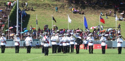The Royal Solomon Islands Police Band performing yesterday. Photo credit: SIBC.