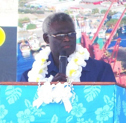 Prime Minister Manasseh Sogavare speaking at the opening of the new SIPA wharf. Photo credit: SIBC.