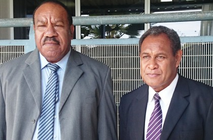 The new Chief Magistrate John Numapo and Chief Justice Sir Albert Palmer. Photo credit: SIBC.