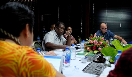 CBSI Governor Denton Rarawa at the meeting in Nadi, Fiji. Photo credit: CBSI.