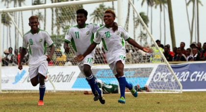 Solomon Islands celebrate their opening goal. Photo credit: OFC.