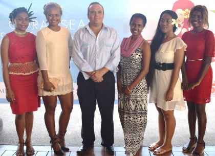 The six Queen contestants and their Platinum Sponsor rep Steve Cameron of the Coral Sea Resort and Casino. Photo credit: Island Sun.