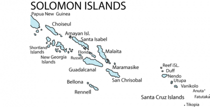 A map of Solomon Islands. Photo credit: Family Search.
