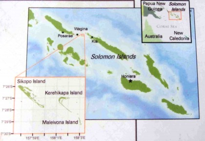A map showing where the Arnavons are located in Solomon Islands