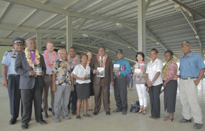 Members of the SI Creative Writers Association with the new book. Photo Credit: Anouk Ride.