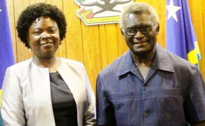 Prime Minister Manasseh Sogavare and World Bank Vice-President, East Asia, and Pacific Region, Victoria Kwakwa.