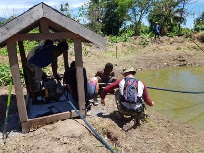 The new water pump at San Isidro, sponsored by the rotary club of Honiara. Photo credit: Honiara Rotary Club.