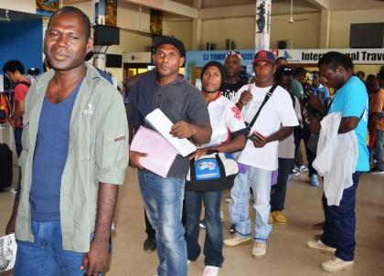 Seasonal workers at the Honiara International Airport. Photo credit: GCU.